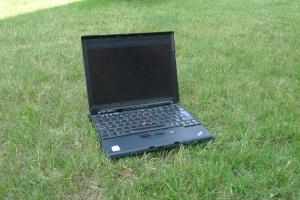 greenpc Laptop on Grass